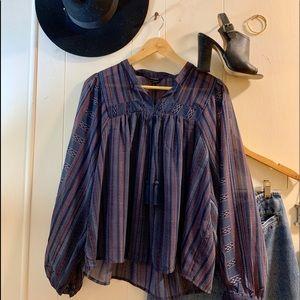 NWT Lucky Brand navy striped boho peasant blouse.